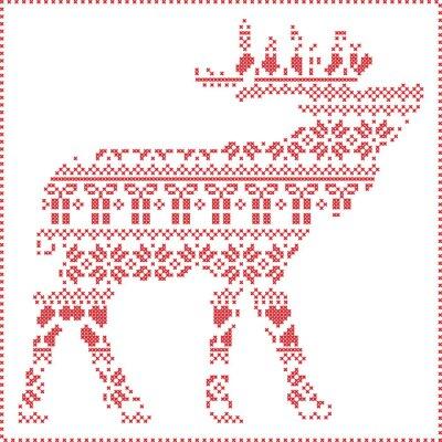 Obraz Scandinavian zimních steh pletení vánoční vzor v sob tvar těla včetně sněhové vločky, srdíčka vánočními stromy vánoční dárky, sníh, hvězdy, ozdobnými ornamenty 2