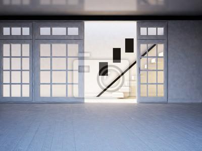 schody v prázdné místnosti, 3d