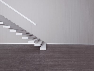 Schody v prázdné místnosti, 3d rendering