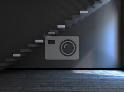 schody v temné místnosti, 3d
