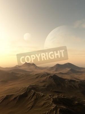 Obraz Sci-fi ilustrace planety stoupá nad obzor dezolátním cizím světě, 3d digitálně poskytované obrázek