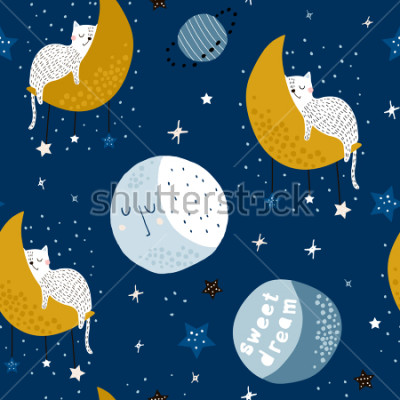 Obraz Seamless childish pattern with cats on moons and starry sky. Creative kids texture for fabric, wrapping, textile, wallpaper, apparel. Vector illustration