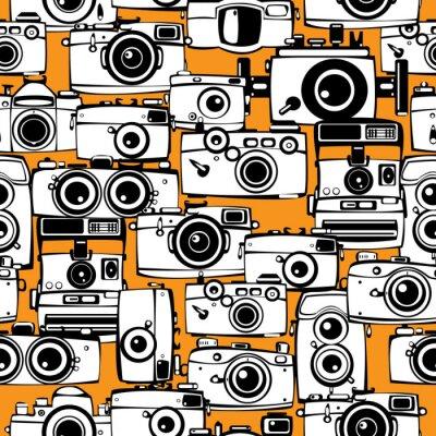 Obraz seamless pattern vintage filmové fotoaparáty