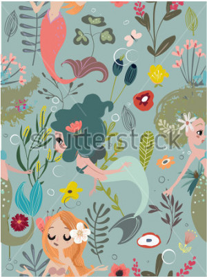 Obraz Seamless pattern with cartoon mermaids and flowers