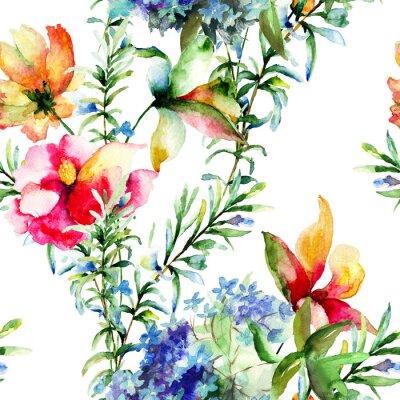 Obraz Seamless pattern with Dekorativní květy v létě