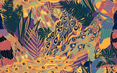 Obraz Seamless pattern with large blue-green peacock tails and leaves of tropical palm trees.