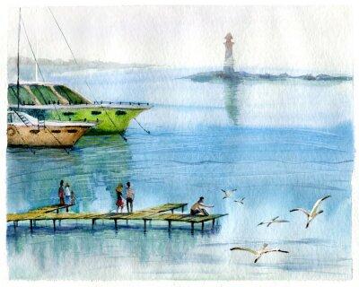 Obraz Seascape, jachty, akvarel