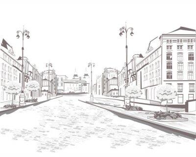 Obraz Série výhledem do ulice ve starém městě, skica