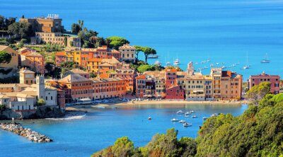 Sestri Levante on Mediterranean sea coast in Italy