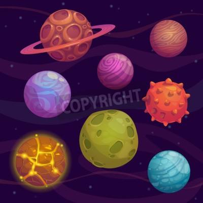 Obraz Set of cartoon fantastic planet on space background