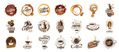 Obraz Set of coffee logos. Vector illustration on white background