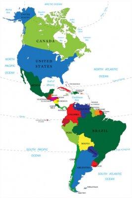 Obraz Severní a Jižní Amerika mapa