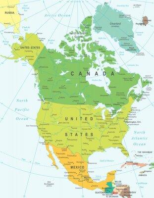 Obraz Severní Amerika mapa - velmi podrobné vektorové ilustrace.