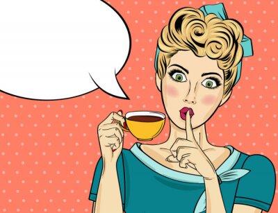 Obraz Sexy blondýnka pop art žena s šálek kávy