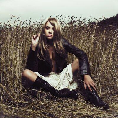 Obraz Sexy blondýnka v pšenici