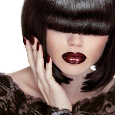 Obraz Sexy rty. Manikúra a make-up. Lipstick. Fashion Girl. Fringe.