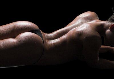 Obraz Sexy tělo ženy, mokrá kůže, černé pozadí