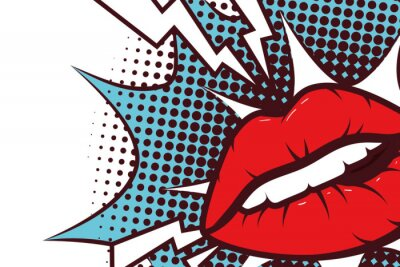 Obraz sexy woman mouth with splash expression pop art style