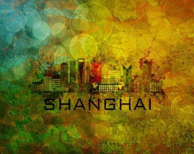Obraz Shanghai City Skyline na pozadí grunge Ilustrace