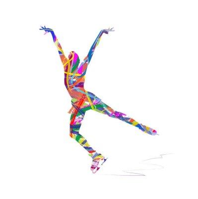 Obraz silueta astratta di pattinatrice sul Ghiaccio