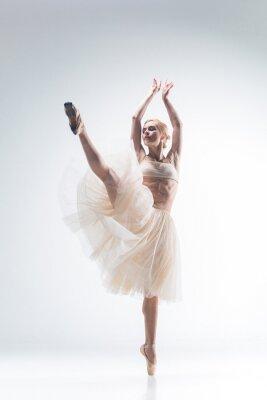 Obraz Silueta balerína na bílém pozadí