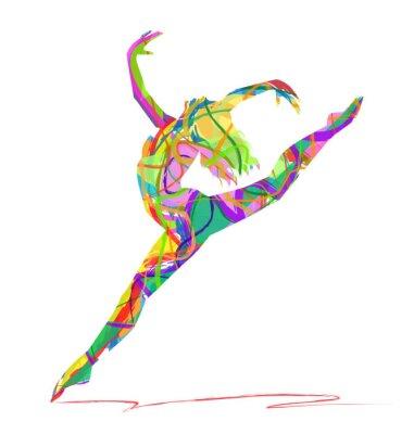 Obraz silueta di balerína composta da Colori
