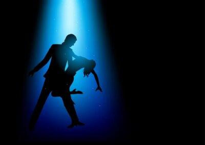 Obraz Silueta ilustrace pár tančící