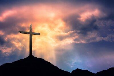 Obraz Silueta kříže na Východ