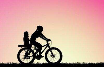Obraz silueta Matka jízda na kole s dcerou na rozmazané východ slunce