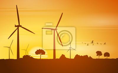 Obraz Silueta větrné mlýny