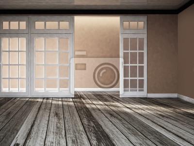 široké dveře s okny, 3d