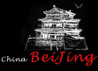 skica čínská budova