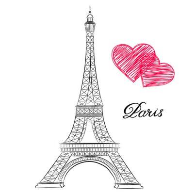 Obraz skica Paříže, Eiffelova věž se srdcem. vektorové ilustrace