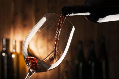 Obraz sklo s červeným vínem