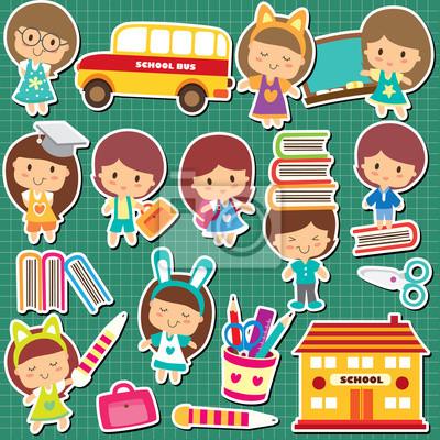 Skolni Deti Kreslene Obrazky Pod Klicovymi Obrazy Na Stenu Obrazy