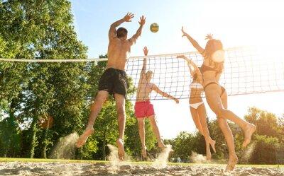 Obraz Skupina mladých přáteli, kteří hrají volejbal na pláži
