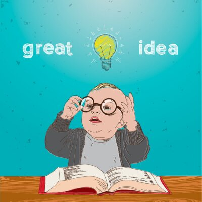 Obraz Skvělý nápad, kluk s knihou a žárovkou nad hlavou