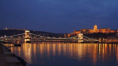 Obraz Skyline Budapešť řetězový most