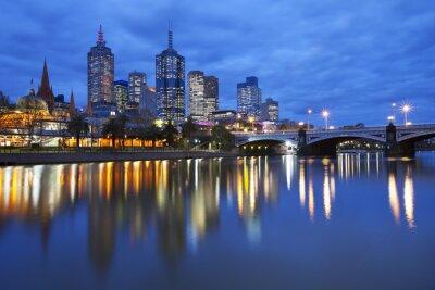 Obraz Skyline of Melbourne, Austrálie přes řeky Yarra v noci