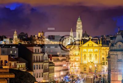 Skyline Porto v noci, Portugalsko