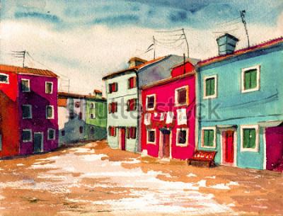 Obraz Slavný Benátky italský ostrov jasně barevné domy akvarel malba ilustrace plakát ručně kreslený umělecká díla textilní vzor plátno pozadí