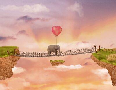 Obraz Slon na mostě na obloze s balónem. Ilustrace