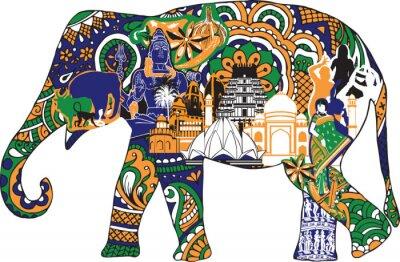 Obraz slon s indickými symboly