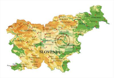 Slovinsko fyzická mapa