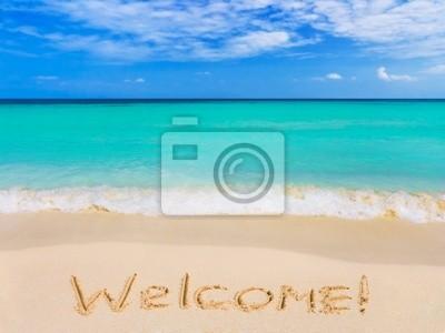 Slovo Vítejte na pláži