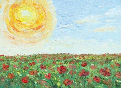 Obraz Slunce přes maková pole, malování, olej na plátně