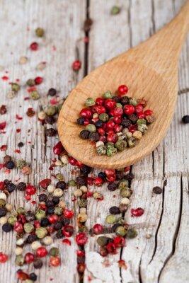 Obraz směs papriky v lžičkou