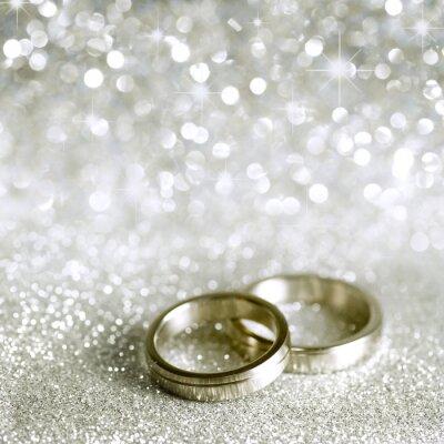 Obraz Snubní prsteny a hvězdy ve stříbrném provedení