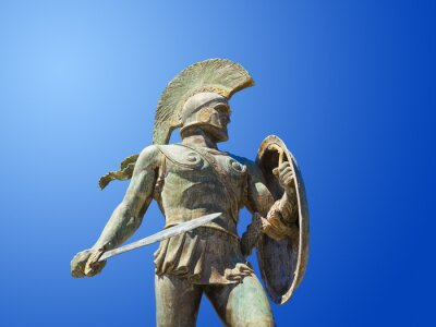 Socha krále Leonidas ve Spartě, Řecko