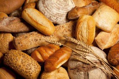 Obraz sortiment upečeného chleba s pšenicí